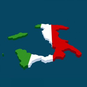 Italian Flag in the Shape of Italy