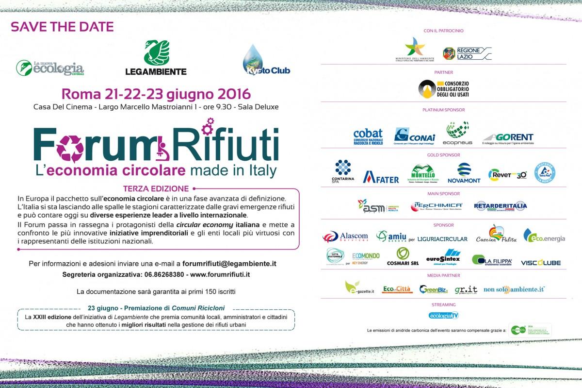 Anche quest'anno nuova edizione del Forum Rifiuti