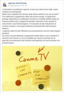 Canone TV - Post Facebook Agenzia delle Entrate
