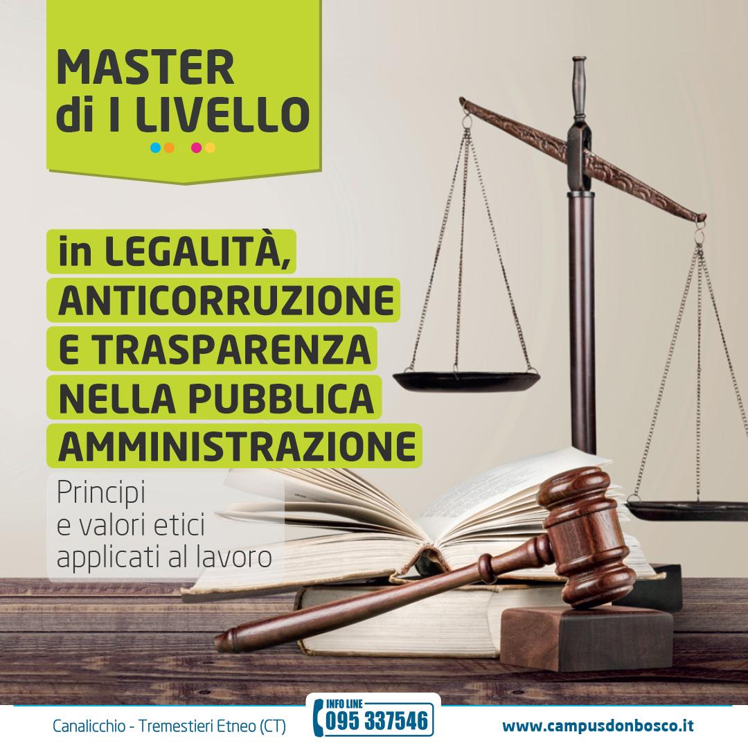 Al via il Master in Legalità e Trasparenza nella PA