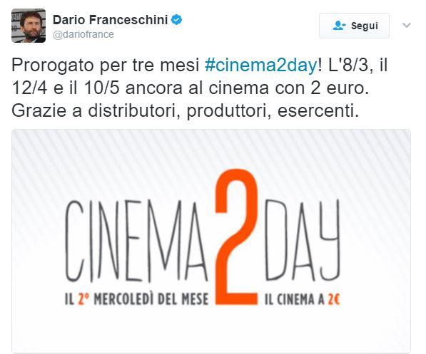 cinema 2 day tweet franceschini