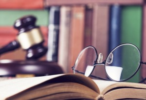 Law concept, gavel, glasses and books