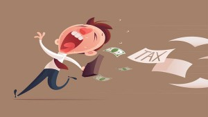 72876336 - avoid tax, business man running away from tax for tax concept