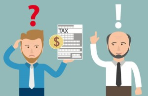 71271869 - angry businessman with tax form and accountman. eps 10 vector file.