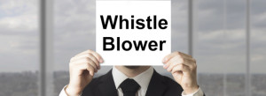businessman hiding face behind sign whistle blower